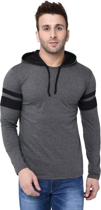 Bi Fashion Color Block Men Round Neck Grey T-Shirt
