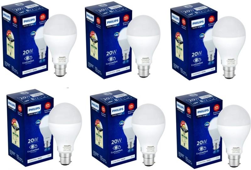 PHILIPS 20 W Round B22 LED Bulb(White, Pack of 6)