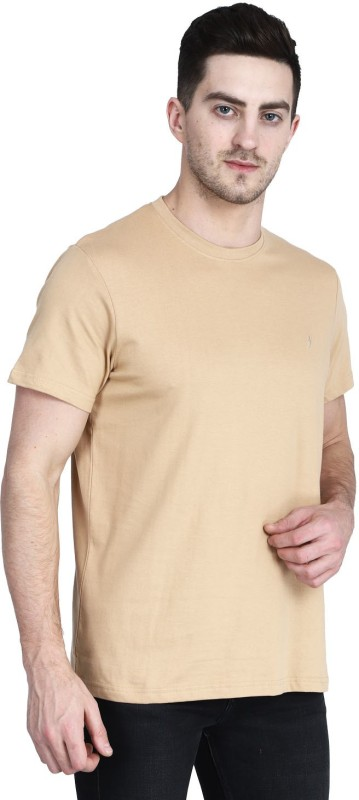 CHICBESTY Solid Men Round Neck Beige T-Shirt