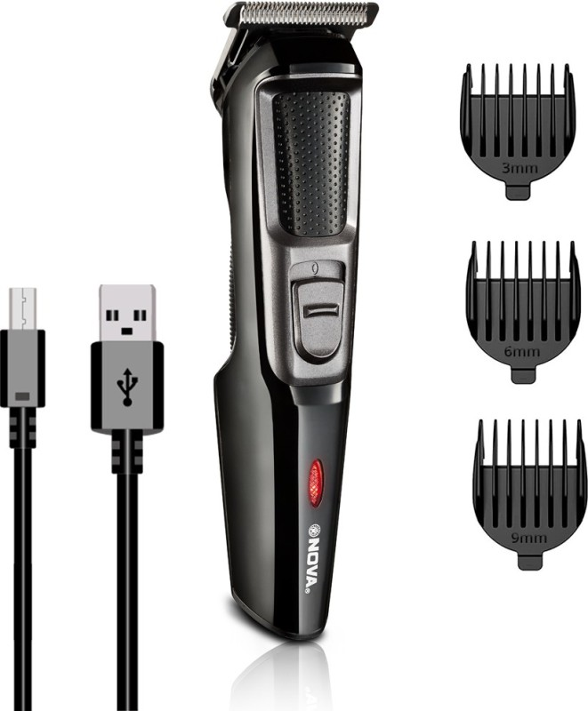 NOVA NHT 1074 USB Runtime: 30 min Trimmer for Men(Black, Silver)