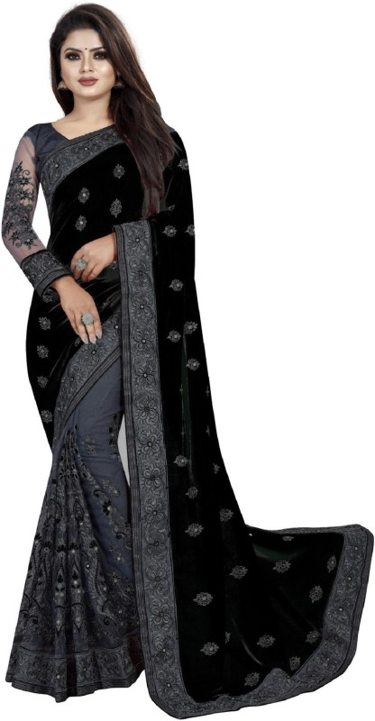 AVSAR PRINTS Embroidered Bollywood Net, Vichitra Saree(Black)