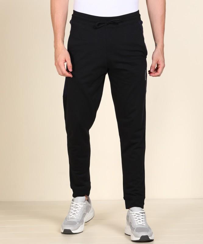 VAN HEUSEN Solid Men Black Track Pants
