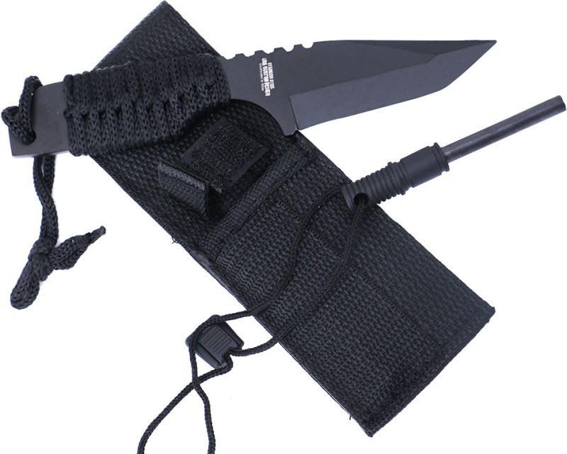 Master Cutlery Camp Tanto with Fire Starter Fixed Blade Knife(Black)