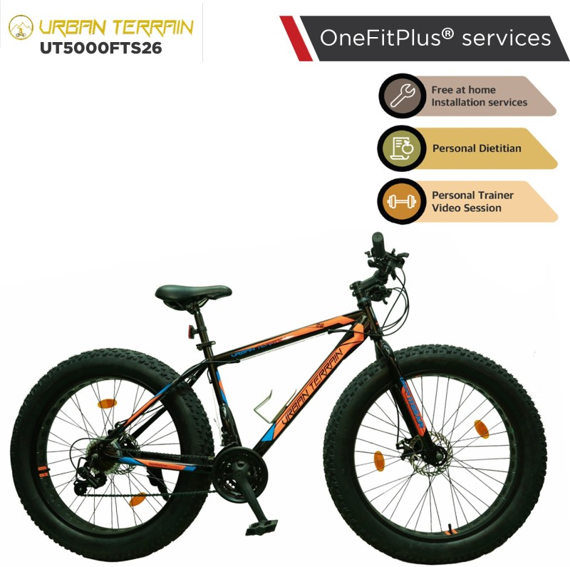 Urban Terrain Beast UT5000FTS26 with 21 Shimano Gear and Installation Services 26 T Fat Tyre Cycle(21 Gear, Red)