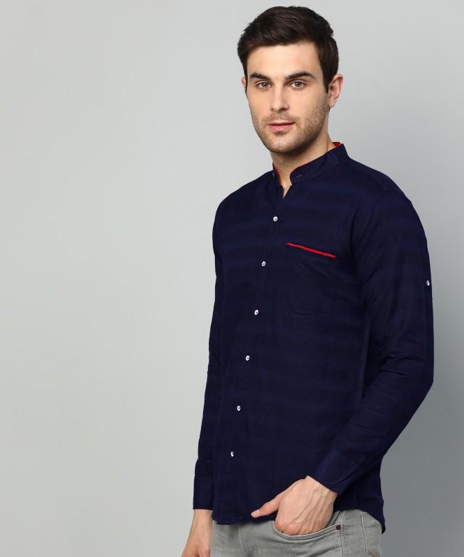 FUBAR Men Striped Party Dark Blue Shirt