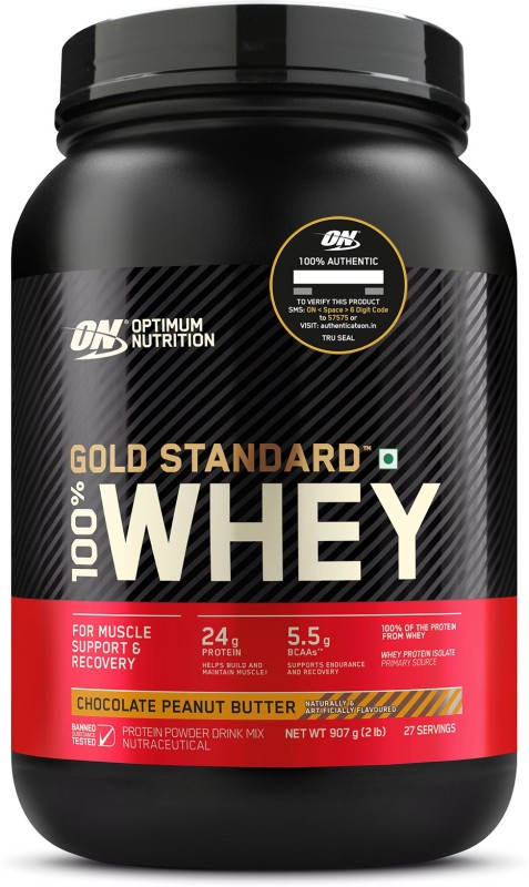 Optimum Nutrition (ON) Gold Standard 100% Protein Powder - Primary Source Isolate Whey Protein(907 g, Chocolate Peanut Butter)