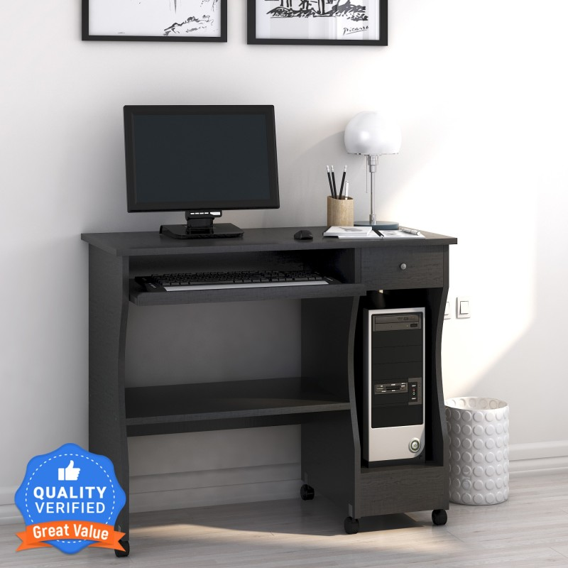 Nilkamal Zenith Engineered Wood Computer Desk(Straight, Finish Color - Black Walnut, Knock Down)