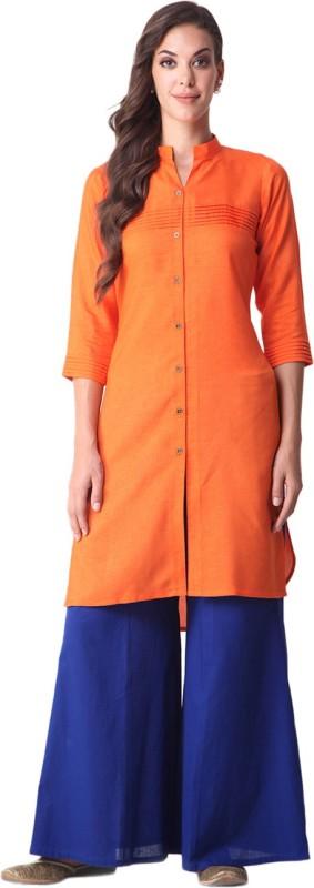 Gerua Solid Women's A-line Kurta(Orange)