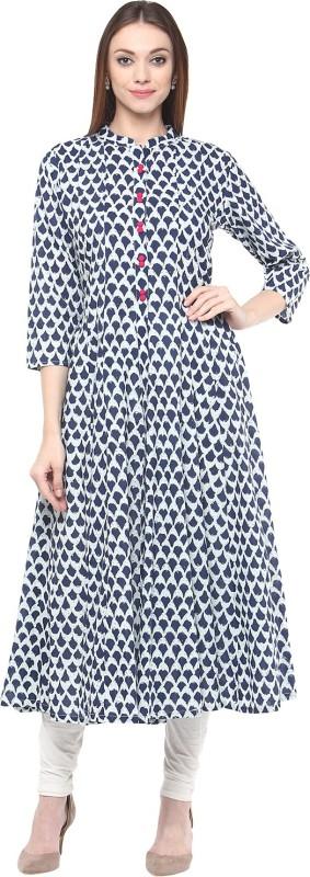 Bhama Couture Printed Women's Flared Kurta(Blue)
