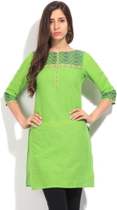 Aurelia Solid Women's Straight Kurta(Green)