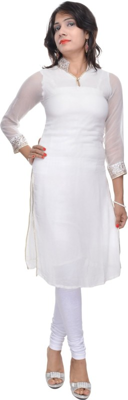 Naksh Jaipur Women's Striped Straight Kurta(White)