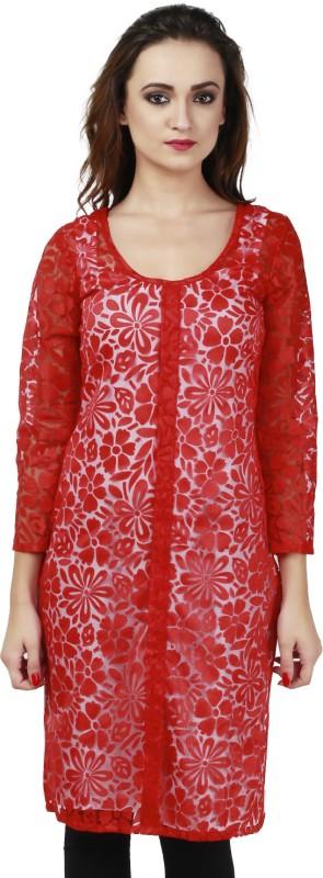 Faireno Self Design Women's Anarkali Kurta(Red)