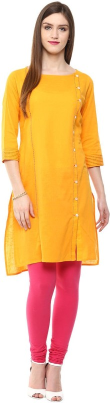Rangmanch by Pantaloons Solid Women's Flared Kurta(Yellow)