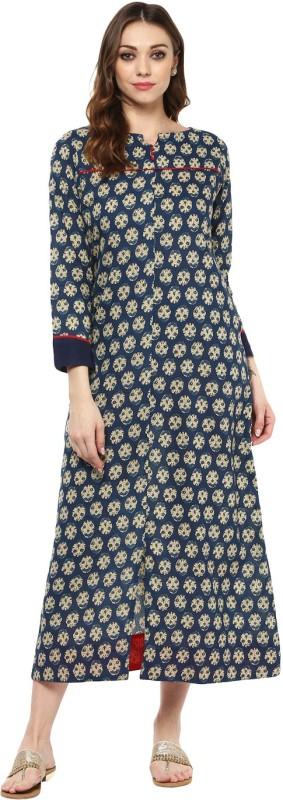 Jaipur Kurti Women Block Print Frontslit Kurta(Blue)