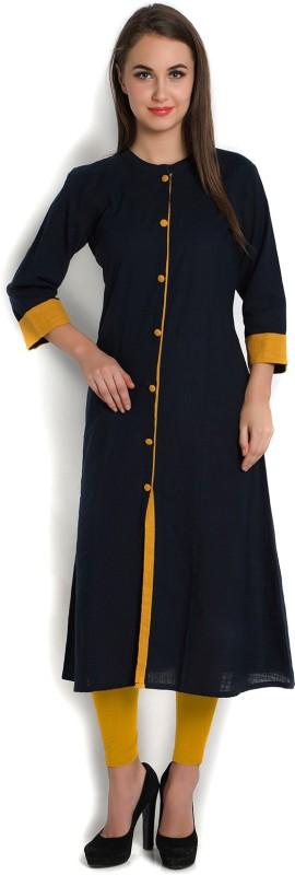 Indibelle Women's Self Design Frontslit Kurta(Dark Blue)