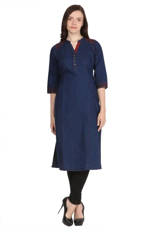 Saadgi Solid Women Straight Kurta(Blue)