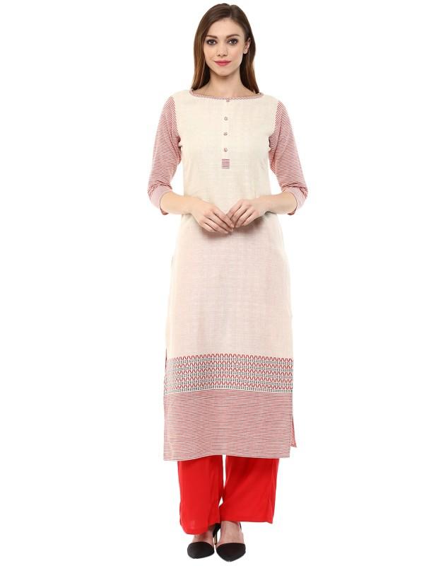 Jaipur Kurti Women's Striped Straight Kurta(White)