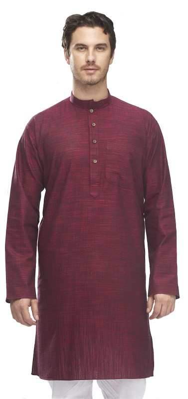 Manyavar Men's Self Design Straight Kurta(Maroon)