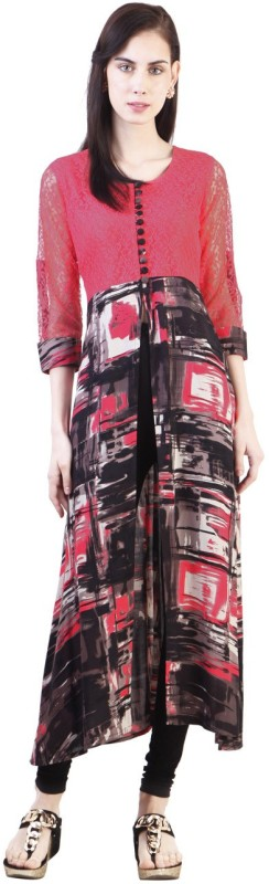 Libas Women Printed Cape Top Kurta(Black, Pink)