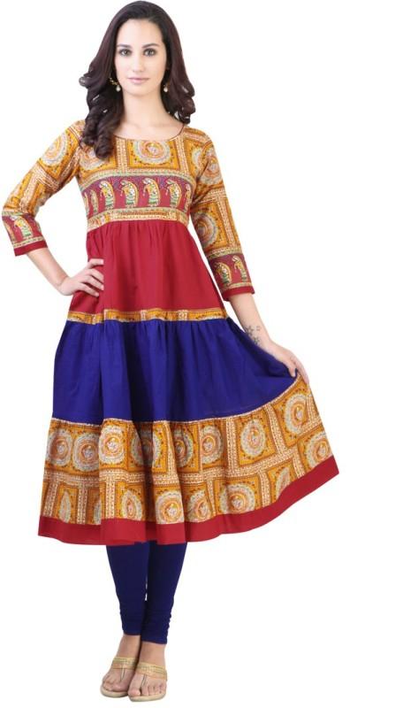 Libas Women's Printed Anarkali Kurta(Multicolor)