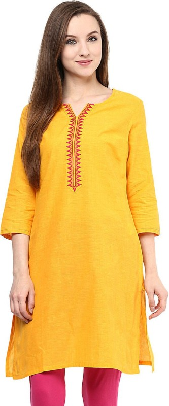 Rangmanch by Pantaloons Solid Women's Straight Kurta(Yellow)