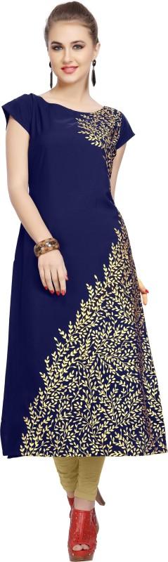 Ziyaa Women's Floral Print Straight Kurta(Blue, Gold)
