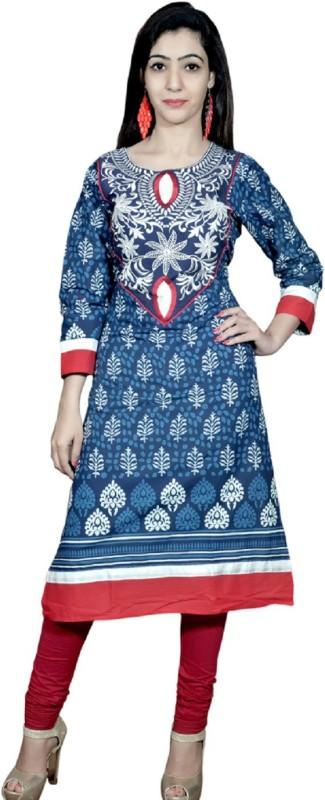 UB Fashion Casual Embroidered Women Kurti(Light Blue)