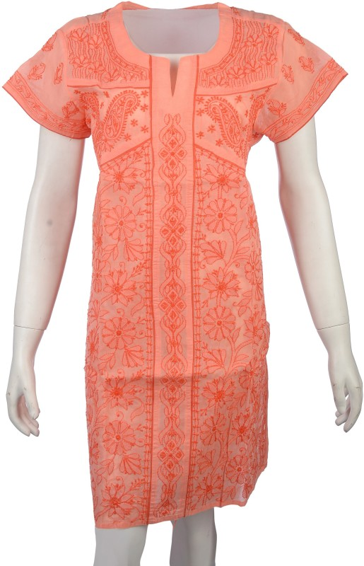 Knool Casual Embroidered Women's Kurti(Orange)