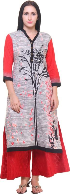 Shree Women Printed Straight Kurta(Grey)