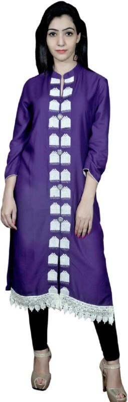 UB Fashion Casual Embroidered Women Kurti(Purple)