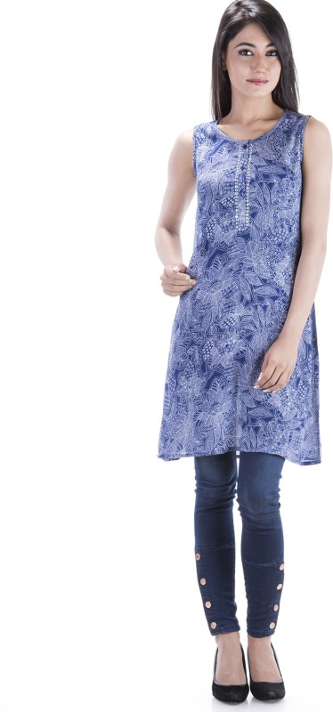 Amadore Casual Printed Women's Kurti(Blue)