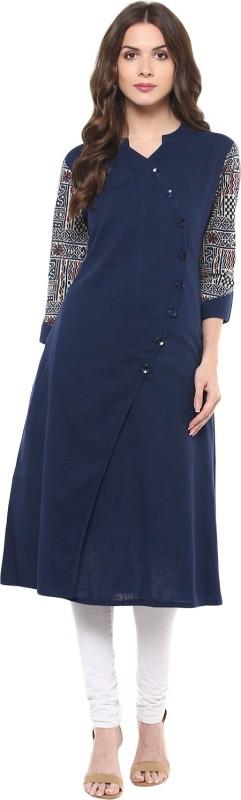2. Indian Virasat Printed Women's Straight Kurta(Dark Blue)