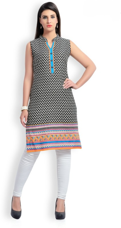 Zola Casual Printed Women's Kurti(Black)