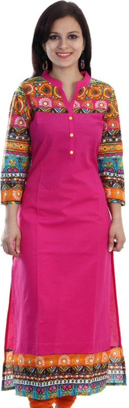Mokshi Women's Solid Straight Kurta(Pink)