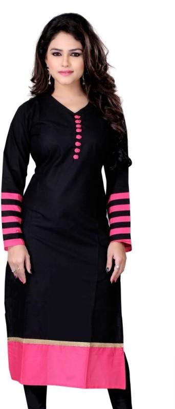 Sukanyaa Self Design Women's Straight Kurta(Black)