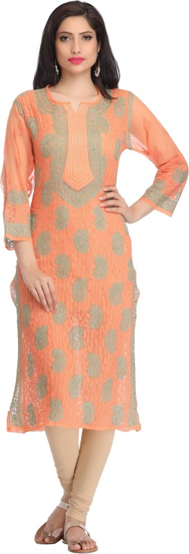 Ada Casual Embroidered Women's Kurti(Orange)