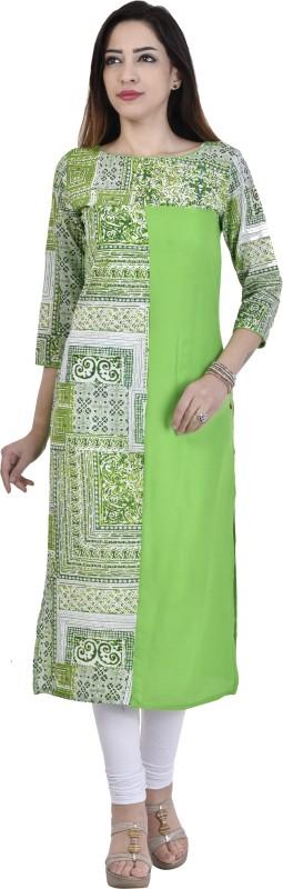 Fashion Bonanza Casual Embroidered Women Kurti(Green)