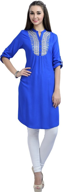 Zola Casual Solid Women's Kurti(Blue)