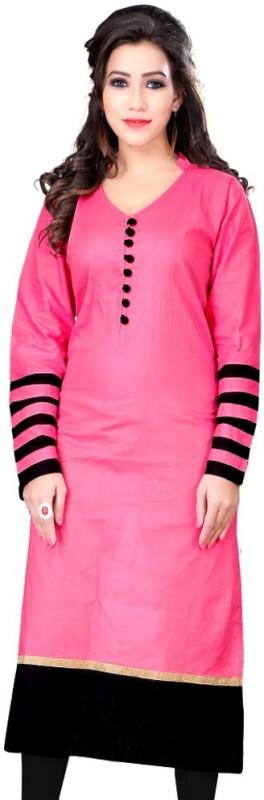 Sukanyaa Casual Self Design Women's Kurti(Pink)