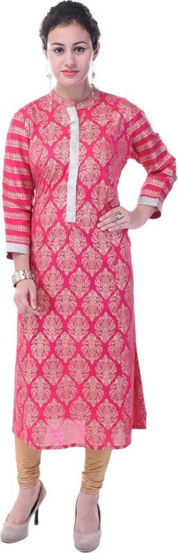 Baalaa Casual Printed Women Kurti(Pink)