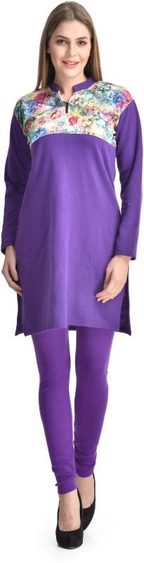 Christy World Casual Solid Womens Maternity Wear Kurti(Purple)