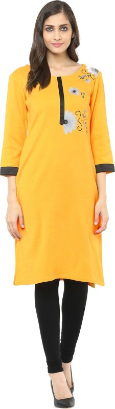 Ziera Casual Embroidered Women's Kurti(Yellow)