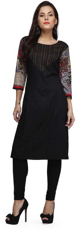 PRINTEMPS Casual Printed Women's Kurti(Black)
