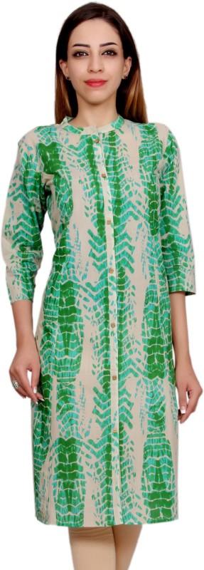 Mokshi Casual Printed Women's Kurti(Beige, Green)