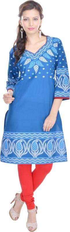 Mahaveer Fashion Wedding Printed Women Kurti(Blue)