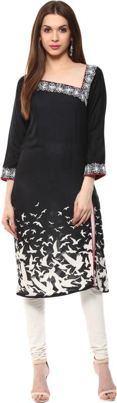 Ziera Casual Embroidered Women's Kurti(Black)