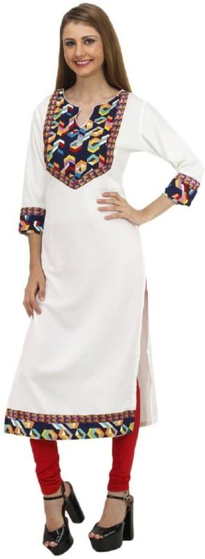 Chandigarh Fashion Mall Festive & Party Printed Women Kurti(White)