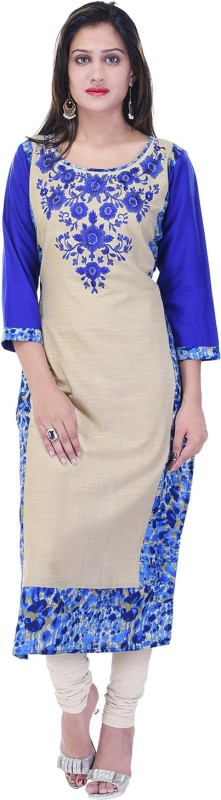 Style N Shades Casual Embroidered Women's Kurti(Blue)