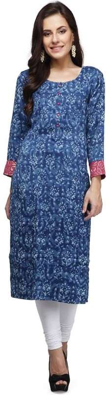 PRINTEMPS Casual Printed Women's Kurti(Blue)