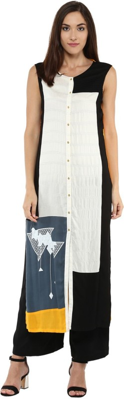 Yepme Casual Printed Women's Kurti(White, Black)